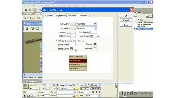 show pop up menu: Intermediate Dreamweaver MX