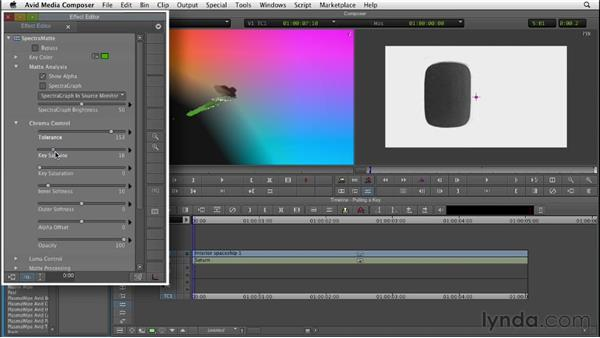 Pulling a chroma key with SpectraMatte, from start to finish: Editing with Composites and Effects in Avid Media Composer