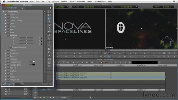 Creating a title sequence with matte keys: Editing with Composites and Effects in Avid Media Composer
