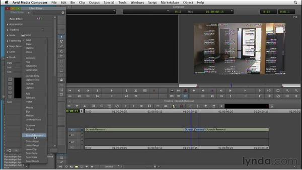 Removing scratches and video artifacts with the Scratch Removal feature: Editing with Composites and Effects in Avid Media Composer