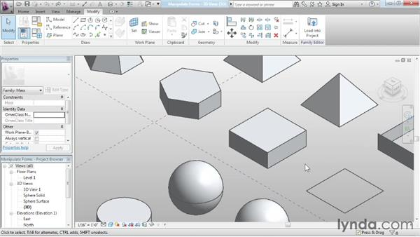 Manipulating forms: Advanced Modeling in Revit Architecture