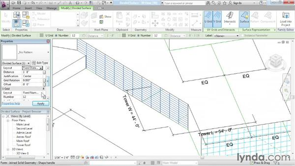Configuring divided surfaces: Advanced Modeling in Revit Architecture