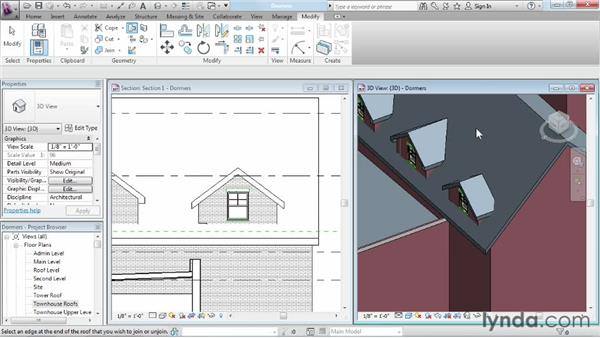 Adding dormers: Advanced Modeling in Revit Architecture