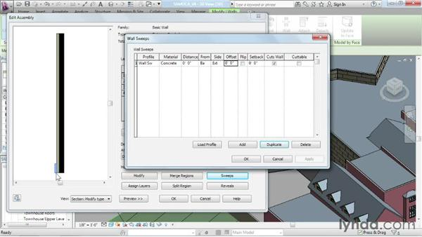Adding sweeps and reveals: Advanced Modeling in Revit Architecture