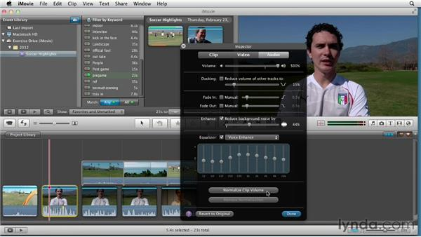 Reducing background noise and normalizing audio: Creating a Sports Highlight Reel with iMovie