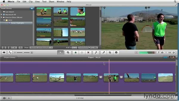 Creating an instant editing effect using beat markers: Creating a Sports Highlight Reel with iMovie
