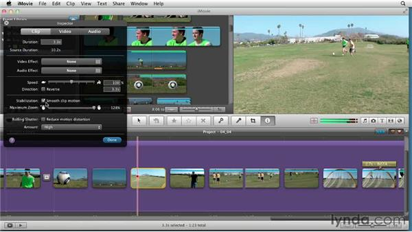 Analyzing and applying image stabilization: Creating a Sports Highlight Reel with iMovie
