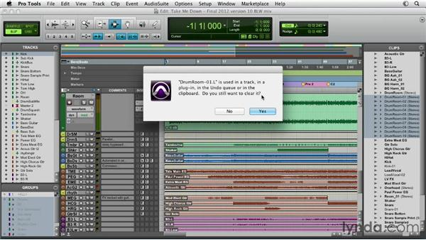 Staying organized: labeling tracks and clips: Pro Tools Mixing and Mastering