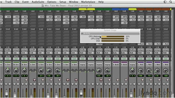 Managing system resources during mixdown: Pro Tools Mixing and Mastering