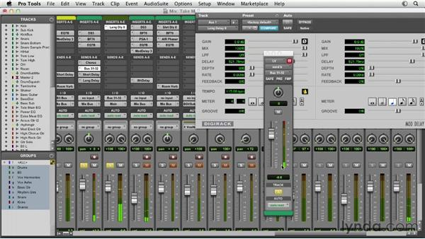 Using sends and creating effects returns: Pro Tools Mixing and Mastering