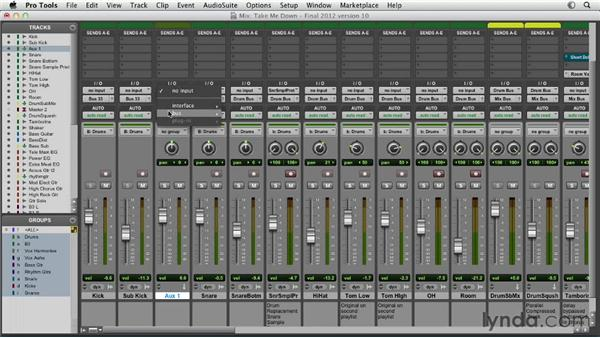 Submixing with aux tracks: Pro Tools Mixing and Mastering