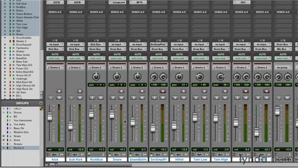 Using groups while mixing: Pro Tools Mixing and Mastering