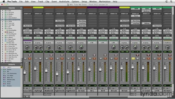 Adjusting volume and pan to balance the mix: Pro Tools Mixing and Mastering