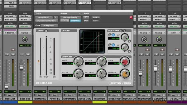 Using the DigiRack Dyn 3 compressor/limiter: Pro Tools Mixing and Mastering
