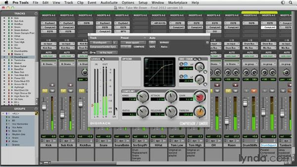 Building parallel, or upward, compression: Pro Tools Mixing and Mastering