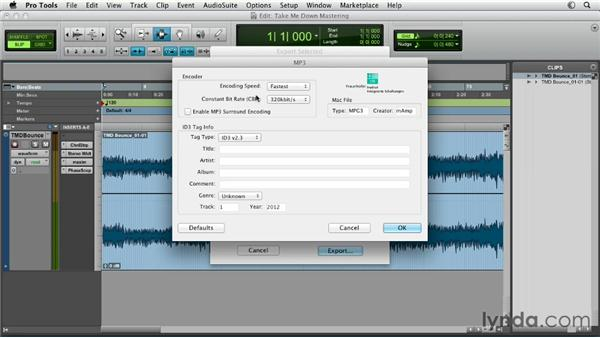 Compressing audio for the web: Pro Tools Mixing and Mastering