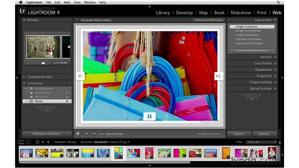 Using web gallery templates: Lightroom 4 Essentials: 04 Creating Slideshows and Web Galleries