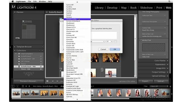 Customizing web gallery site info: Lightroom 4 Essentials: 04 Creating Slideshows and Web Galleries
