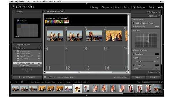 Changing the gallery's color and appearance: Lightroom 4 Essentials: 04 Creating Slideshows and Web Galleries