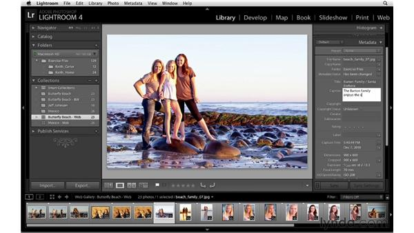 Adding captions and titles: Lightroom 4 Essentials: 04 Creating Slideshows and Web Galleries