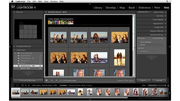 Uploading HTML galleries: Lightroom 4 Essentials: 04 Creating Slideshows and Web Galleries