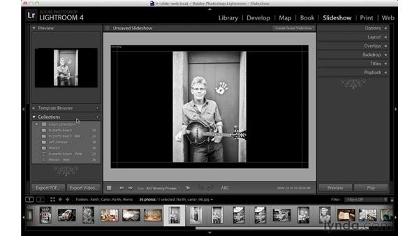 Creating collections in the Slideshow module: Lightroom 4 Essentials: 04 Creating Slideshows and Web Galleries