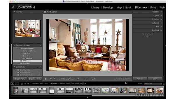 Using slideshow templates and customizing the layout: Lightroom 4 Essentials: 04 Creating Slideshows and Web Galleries
