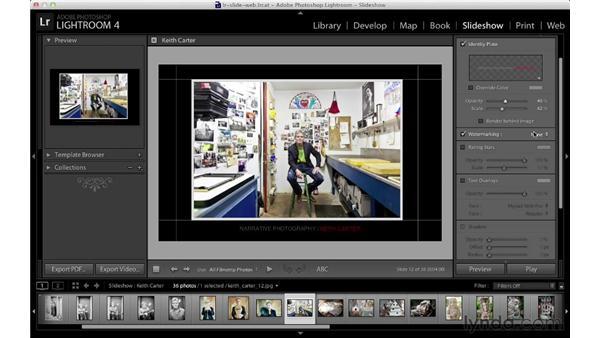 Adding slideshow overlays: Lightroom 4 Essentials: 04 Creating Slideshows and Web Galleries