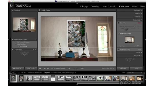 Customizing the background: Lightroom 4 Essentials: 04 Creating Slideshows and Web Galleries