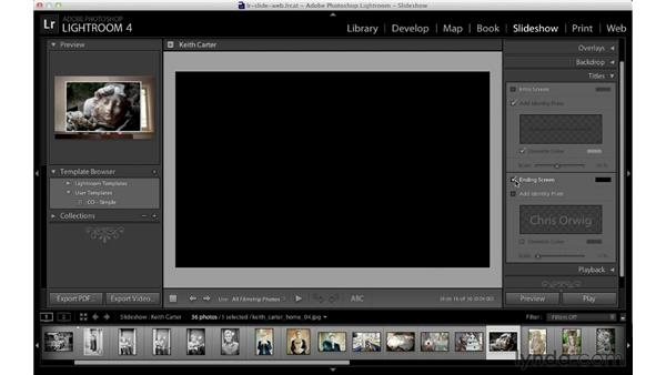 Adding beginning and ending title slides: Lightroom 4 Essentials: 04 Creating Slideshows and Web Galleries