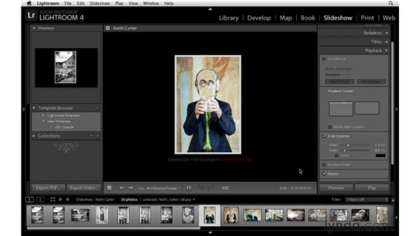 Working with a soundtrack and using the playback options: Lightroom 4 Essentials: 04 Creating Slideshows and Web Galleries