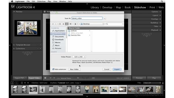 Exporting slideshows as JPEGs, PDFs, or videos: Lightroom 4 Essentials: 04 Creating Slideshows and Web Galleries