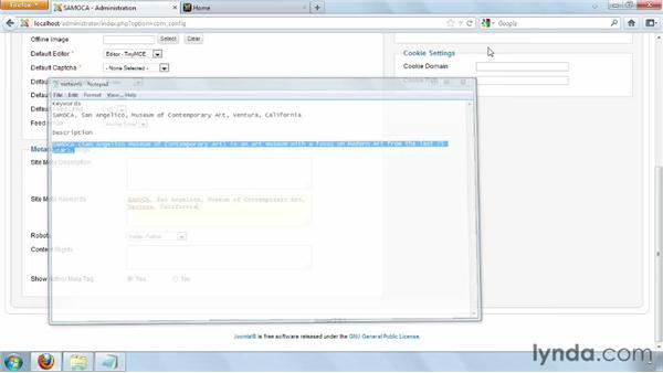 Modifying the Global Configuration : Joomla! 2.5 Essential Training