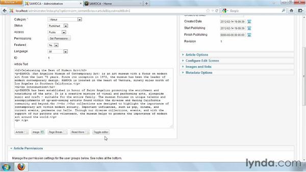 Formatting articles: Joomla! 2.5 Essential Training