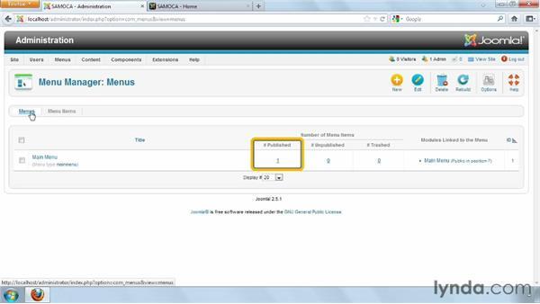 Understanding and configuring menus: Joomla! 2.5 Essential Training