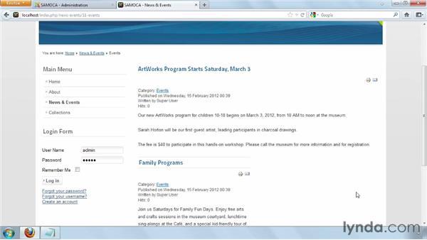 Configuring category lists: Joomla! 2.5 Essential Training