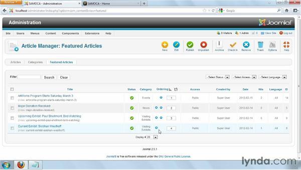 Formatting the homepage: Joomla! 2.5 Essential Training