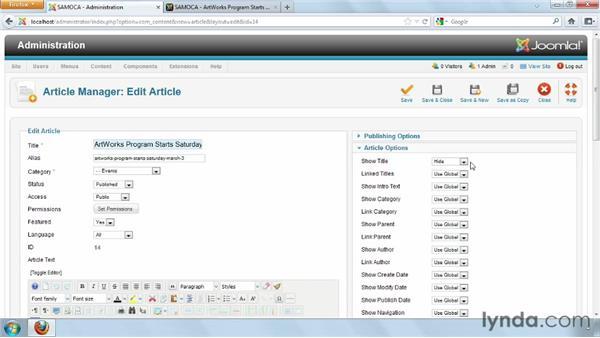 Setting individual article options: Joomla! 2.5 Essential Training