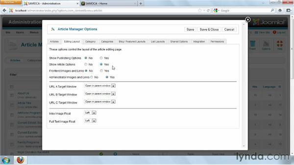 Setting individual article configuration options: Joomla! 2.5 Essential Training
