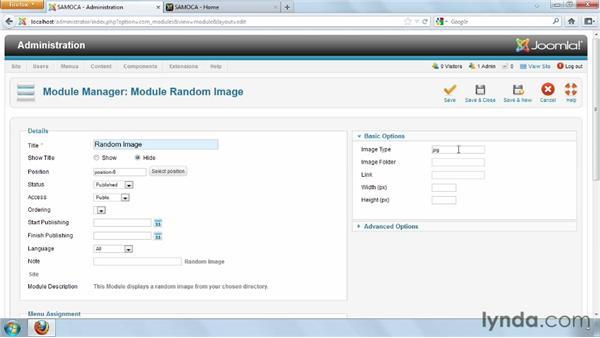 Creating a random image module: Joomla! 2.5 Essential Training