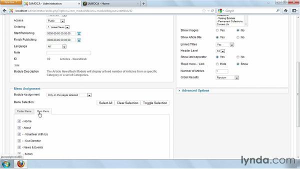 Creating a newsflash module on the homepage: Joomla! 2.5 Essential Training