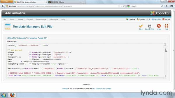 Adjusting template masters with the HTML and CSS editors: Joomla! 2.5 Essential Training