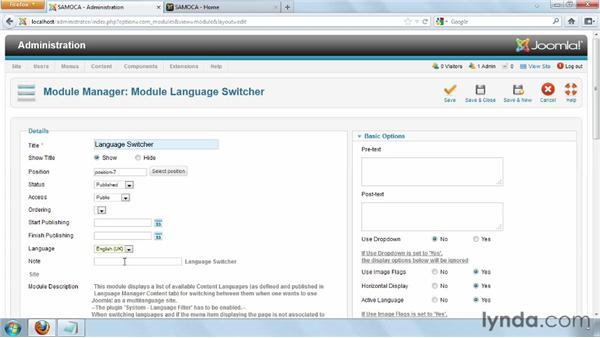Creating the language switcher module: Joomla! 2.5 Essential Training