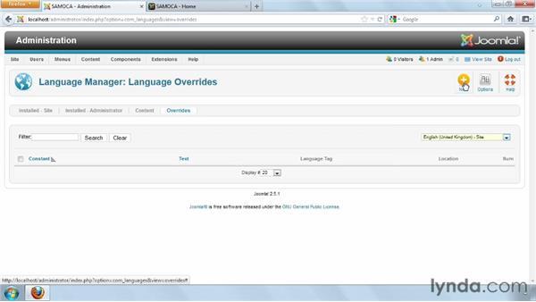 Exploring language overrides: Joomla! 2.5 Essential Training