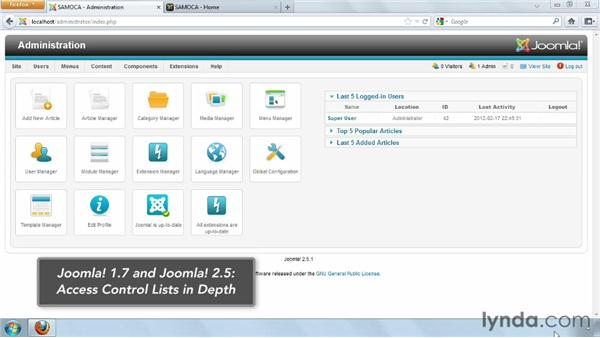 Introduction to access control lists (ACL): Joomla! 2.5 Essential Training