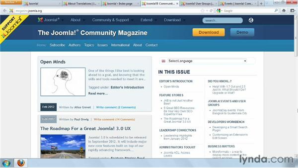 Exploring additional Joomla! resources and opportunities to participate: Joomla! 2.5 Essential Training
