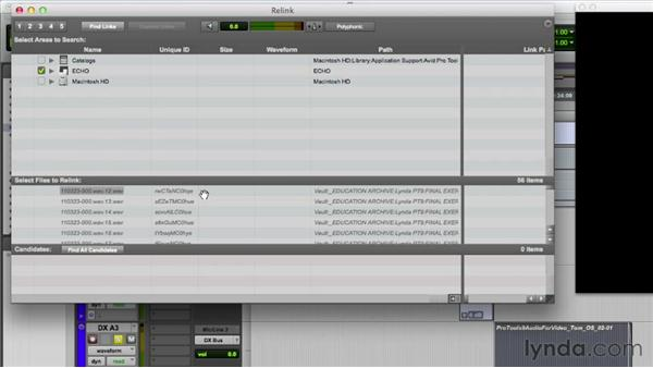 Relinking audio files: Audio for Film and Video with Pro Tools