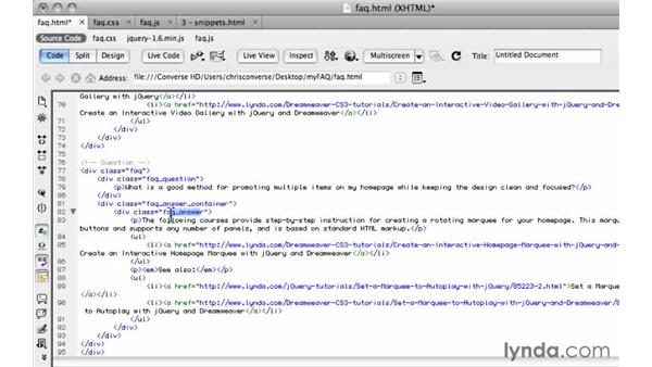 Adding in sample content: Create an Expandable FAQ Listing with jQuery and Dreamweaver