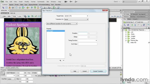 Working with CSS3 transitions: Dreamweaver CS6 New Features