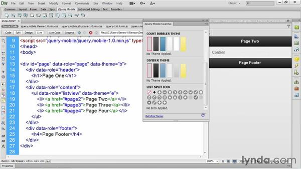 Exploring jQuery Mobile theme support: Dreamweaver CS6 New Features